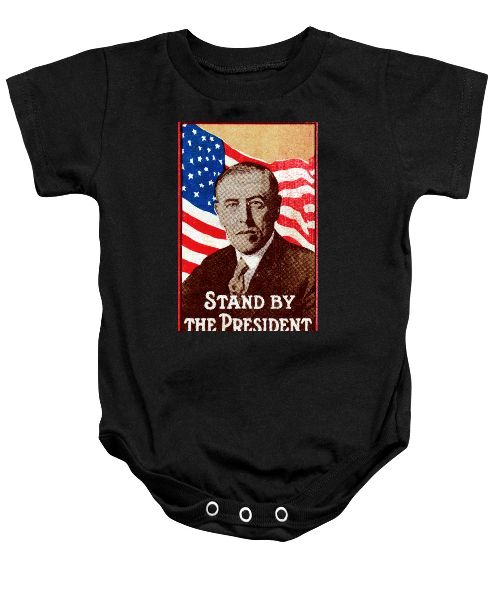 Historicimage Baby Onesie featuring the painting 1916 Support President Wilson by Historic Image