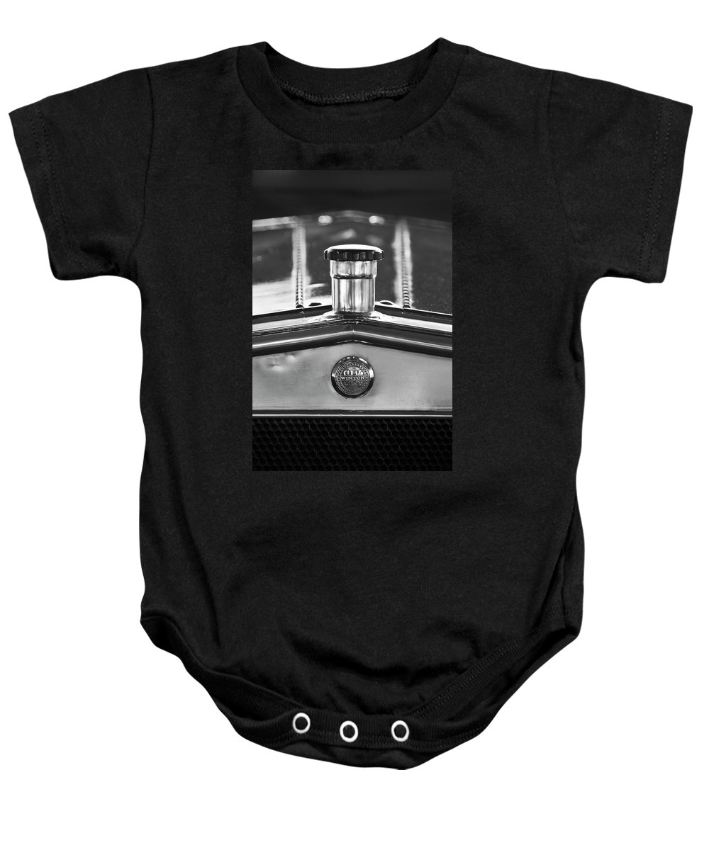 1917 Winton Six-33 Sport Touring Baby Onesie featuring the photograph 1917 Winton Six-33 Sport Touring Hood Ornament 2 by Jill Reger