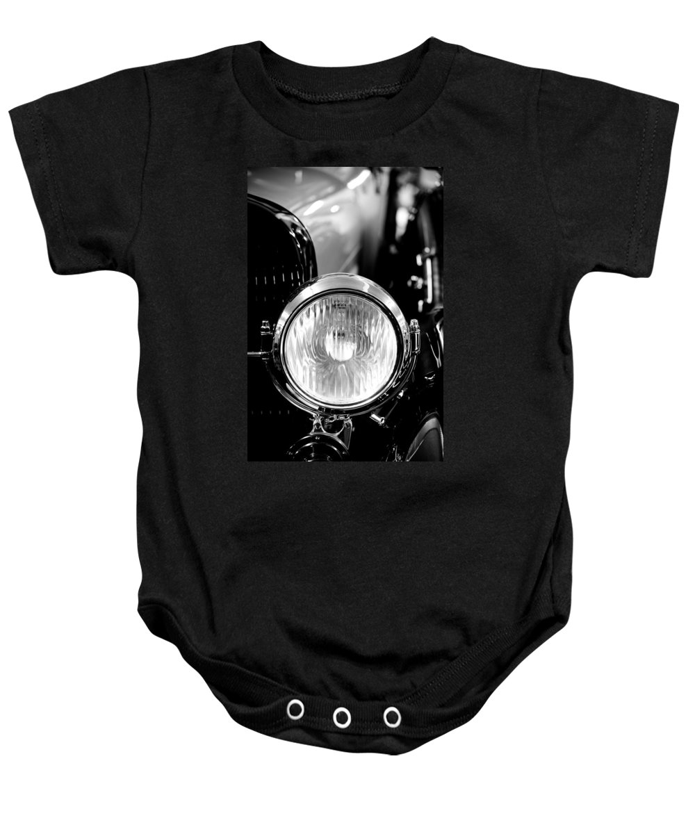 1925 Lincoln Baby Onesie featuring the photograph 1925 Lincoln Town Car Headlight by Sebastian Musial