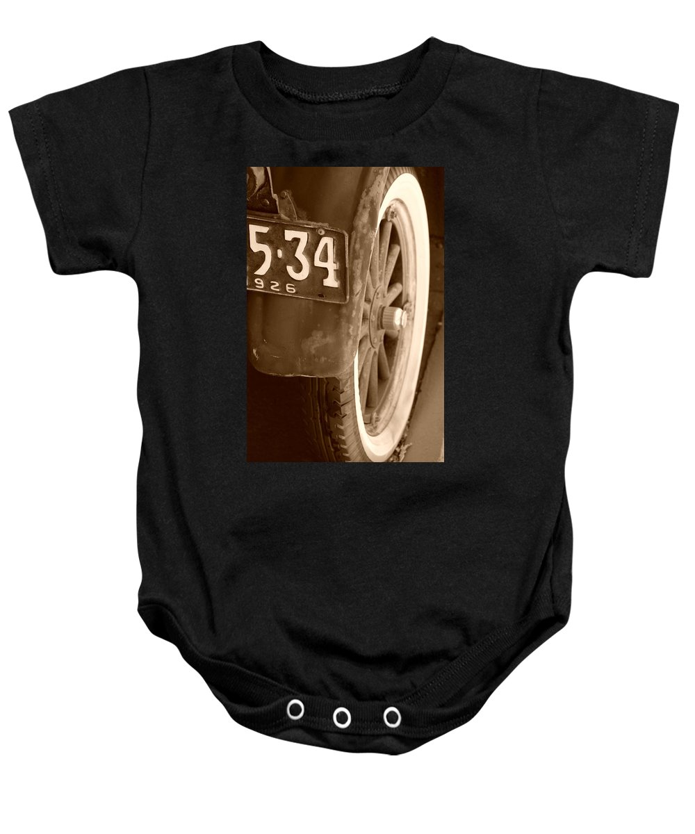 Sepia Baby Onesie featuring the photograph 1926 Model T Ford by Rob Hans