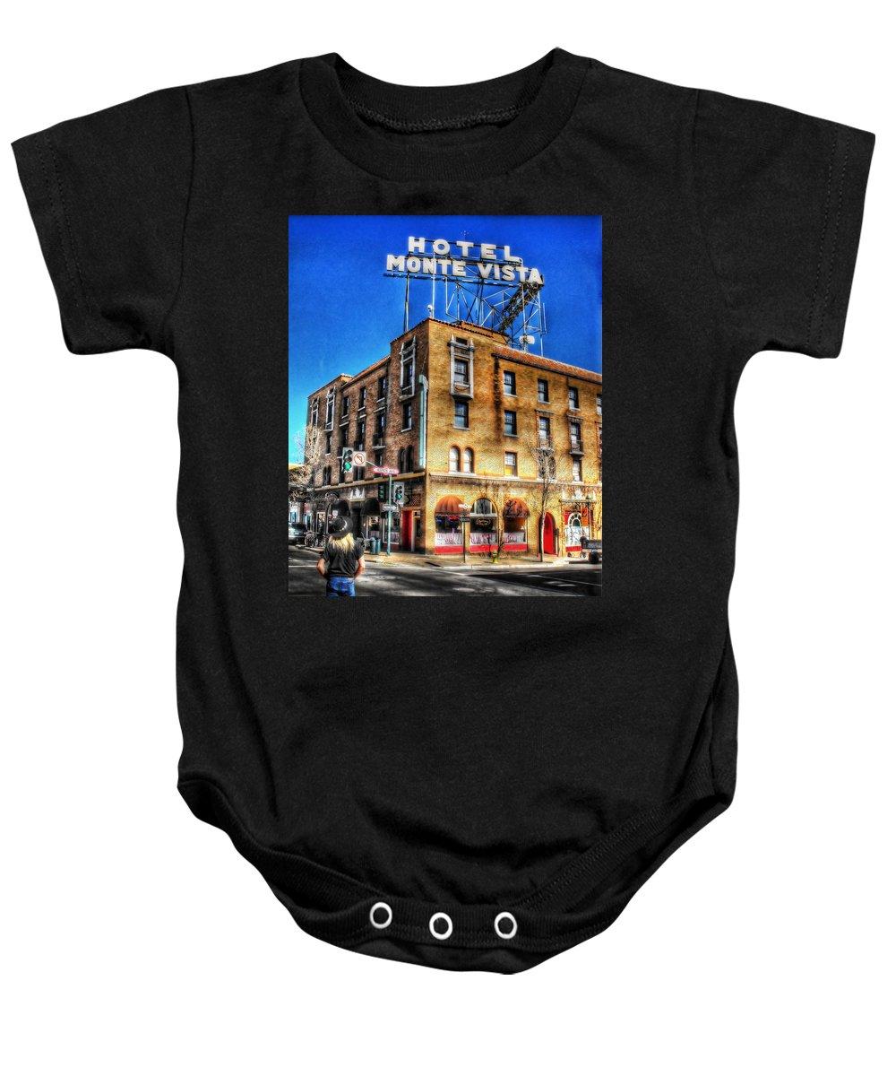 Hotel Monte Vista Baby Onesie featuring the photograph 1927 Hotel Monte Vista - Flagstaff by Saija Lehtonen