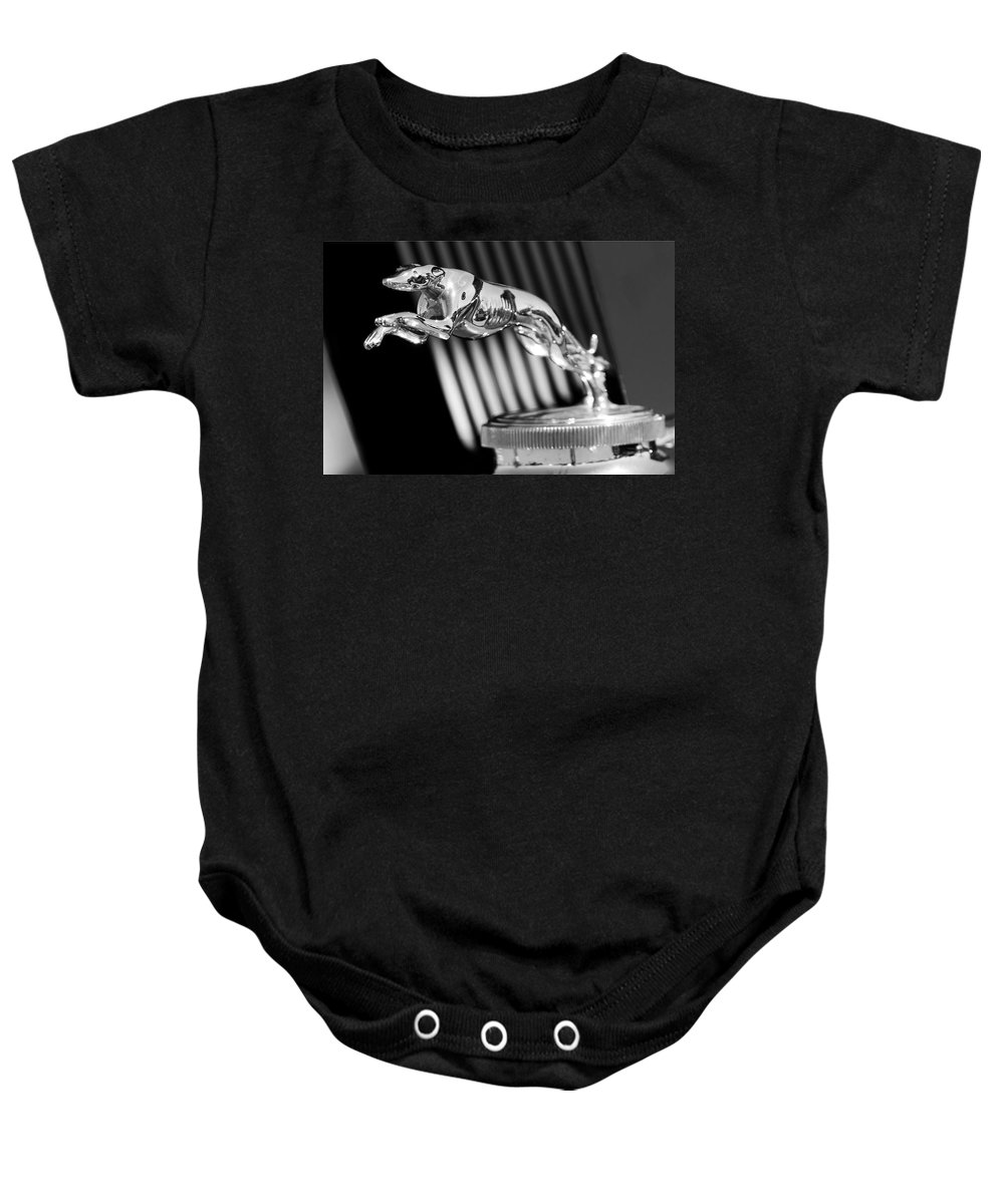 1930 Lincoln Berline Baby Onesie featuring the photograph 1930 Lincoln Berline Hood Ornament by Jill Reger