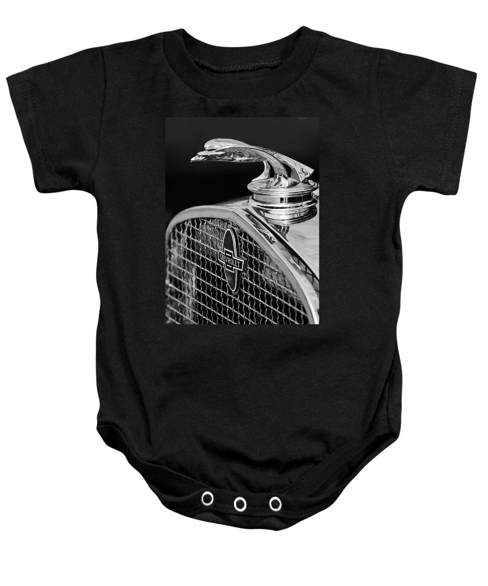 1931 Chevrolet Baby Onesie featuring the photograph 1931 Chevrolet Hood Ornament 4 by Jill Reger