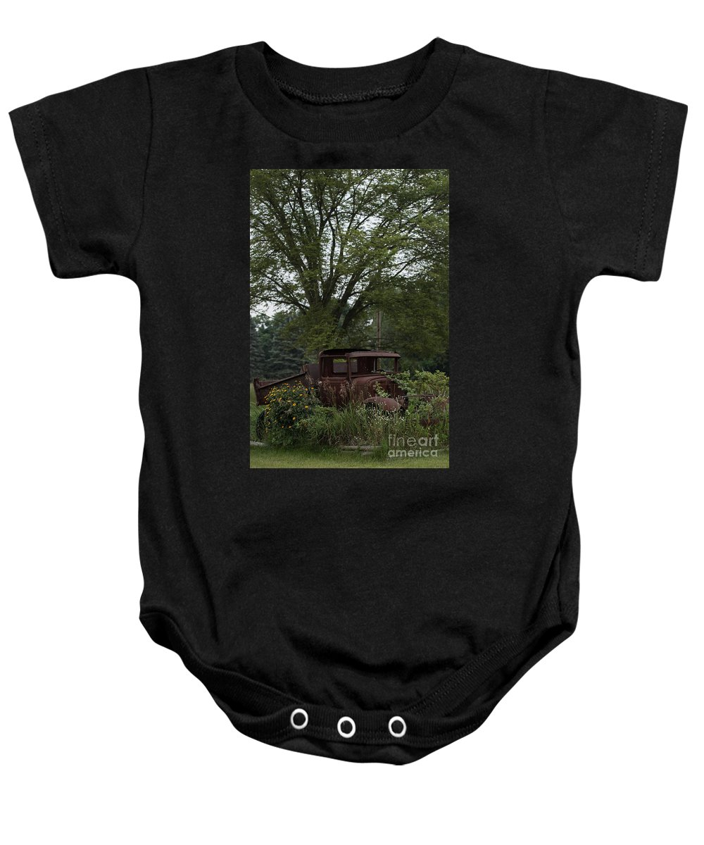 Ford Baby Onesie featuring the photograph 1931 Ford Model A Final Resting Place by Wesley Farnsworth