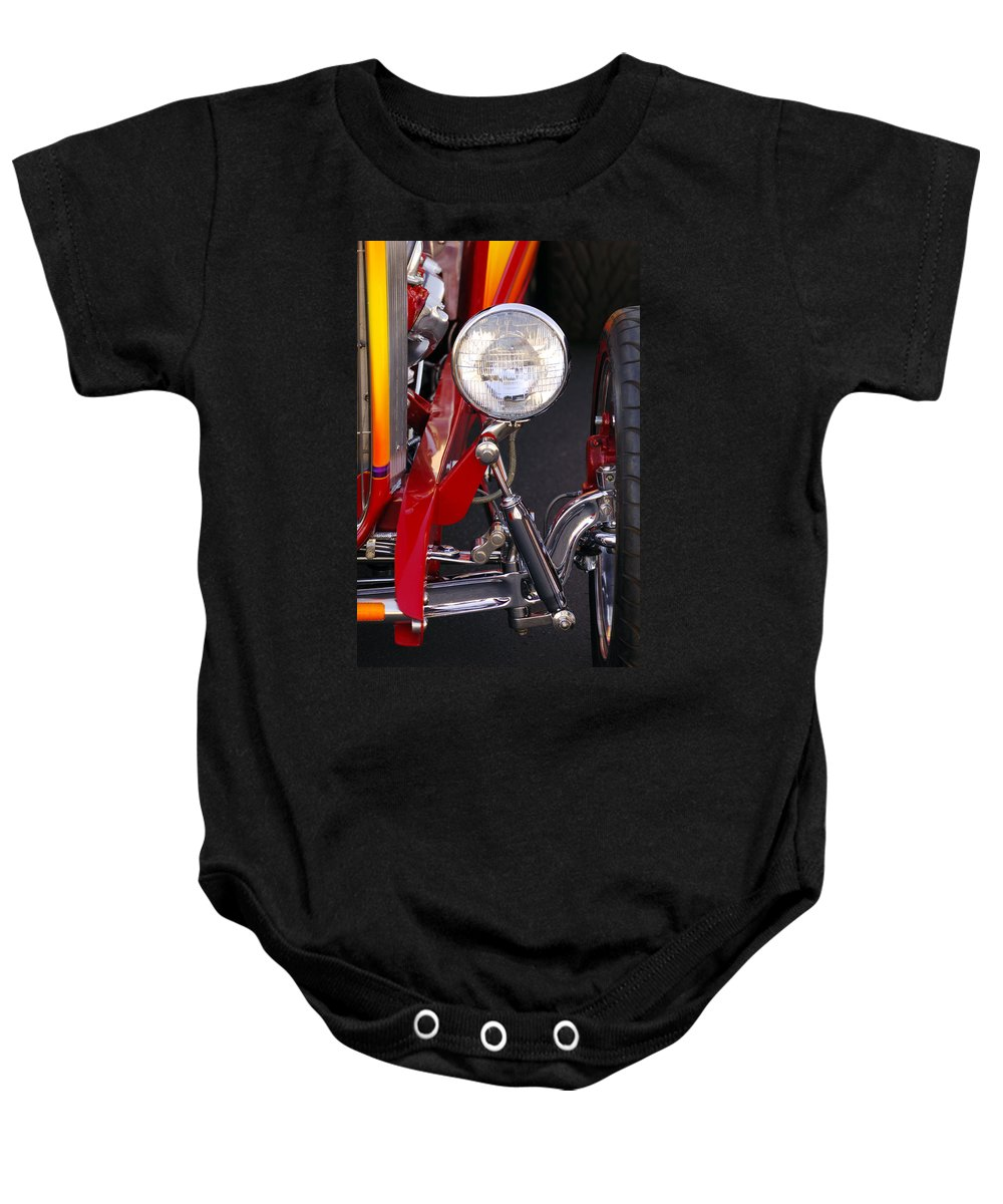 Car Baby Onesie featuring the photograph 1932 Ford Hi-boy Roadster Headlight by Jill Reger