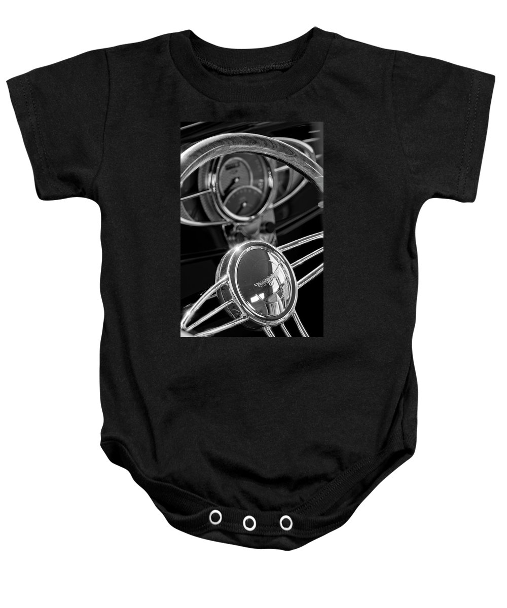 1932 Ford Baby Onesie featuring the photograph 1932 Ford Hot Rod Steering Wheel 4 by Jill Reger