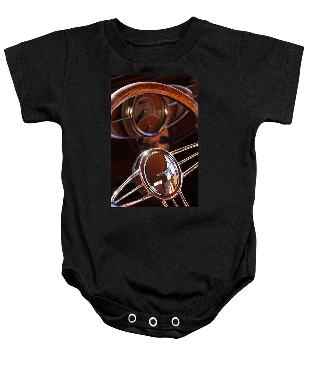 Car Baby Onesie featuring the photograph 1932 Ford Hot Rod Steering Wheel by Jill Reger