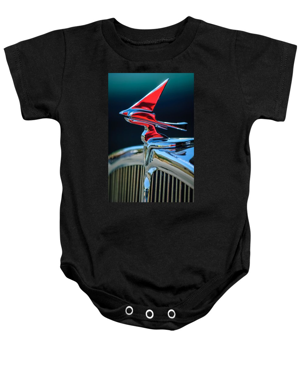 Car Baby Onesie featuring the photograph 1933 Franklin Olympic Hood Ornament by Jill Reger