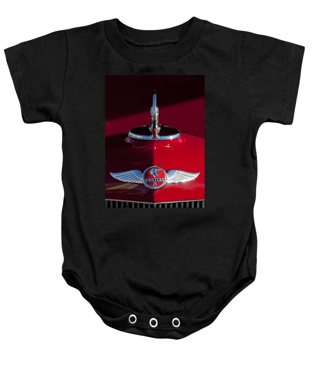 1933 Pontiac Baby Onesie featuring the photograph 1933 Pontiac Hood Ornament 2 by Jill Reger