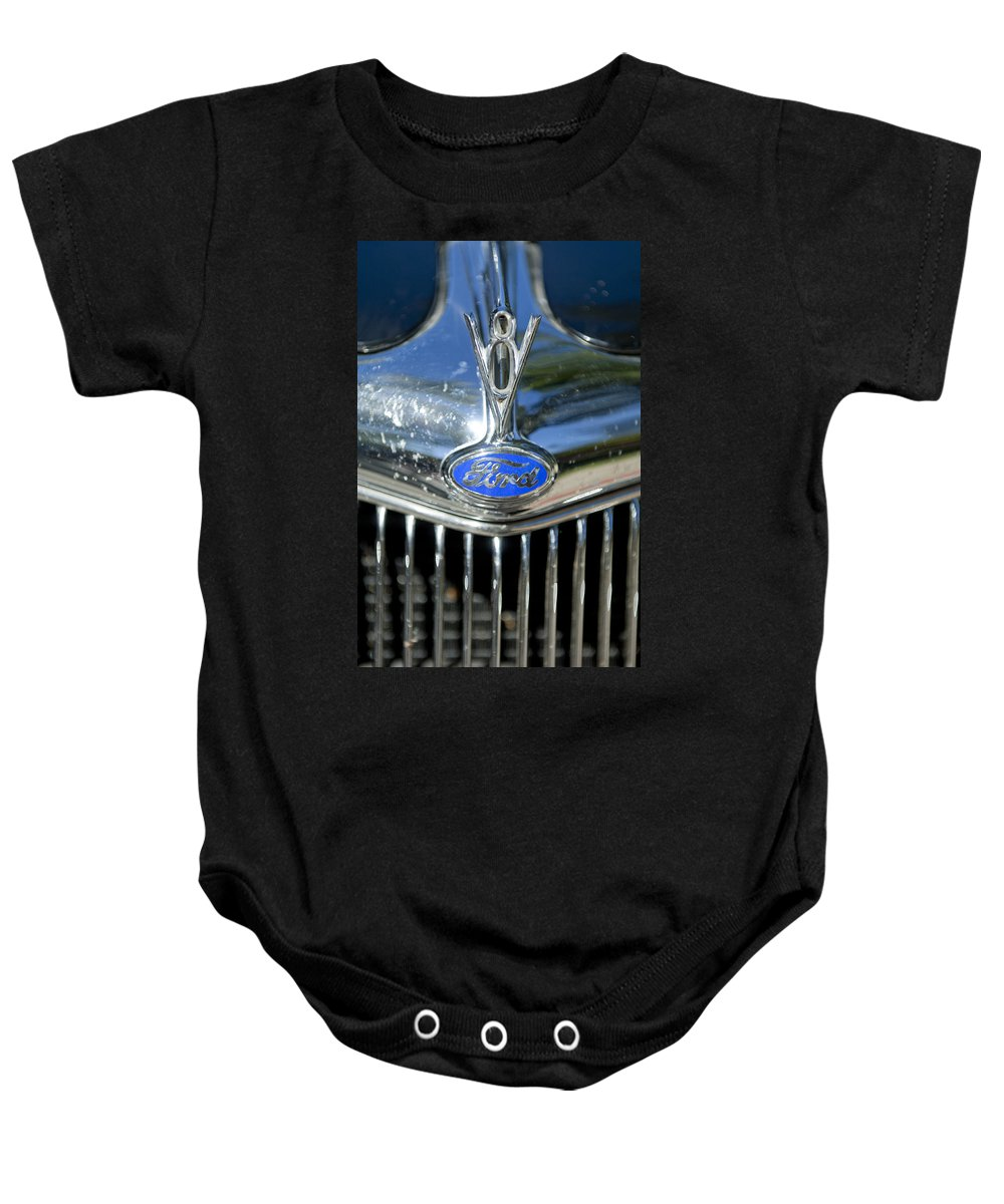 1935 Ford V8 Baby Onesie featuring the photograph 1935 Ford V8 Hood Ornament 2 by Jill Reger