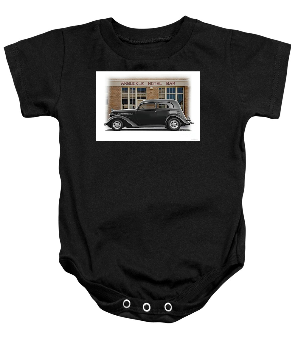 Auto Baby Onesie featuring the photograph 1936 Plymouth Business Coupe II by Dave Koontz