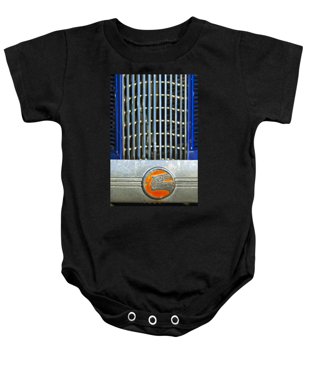1936 Pontiac Baby Onesie featuring the photograph 1936 Pontiac Emblem by Jill Reger