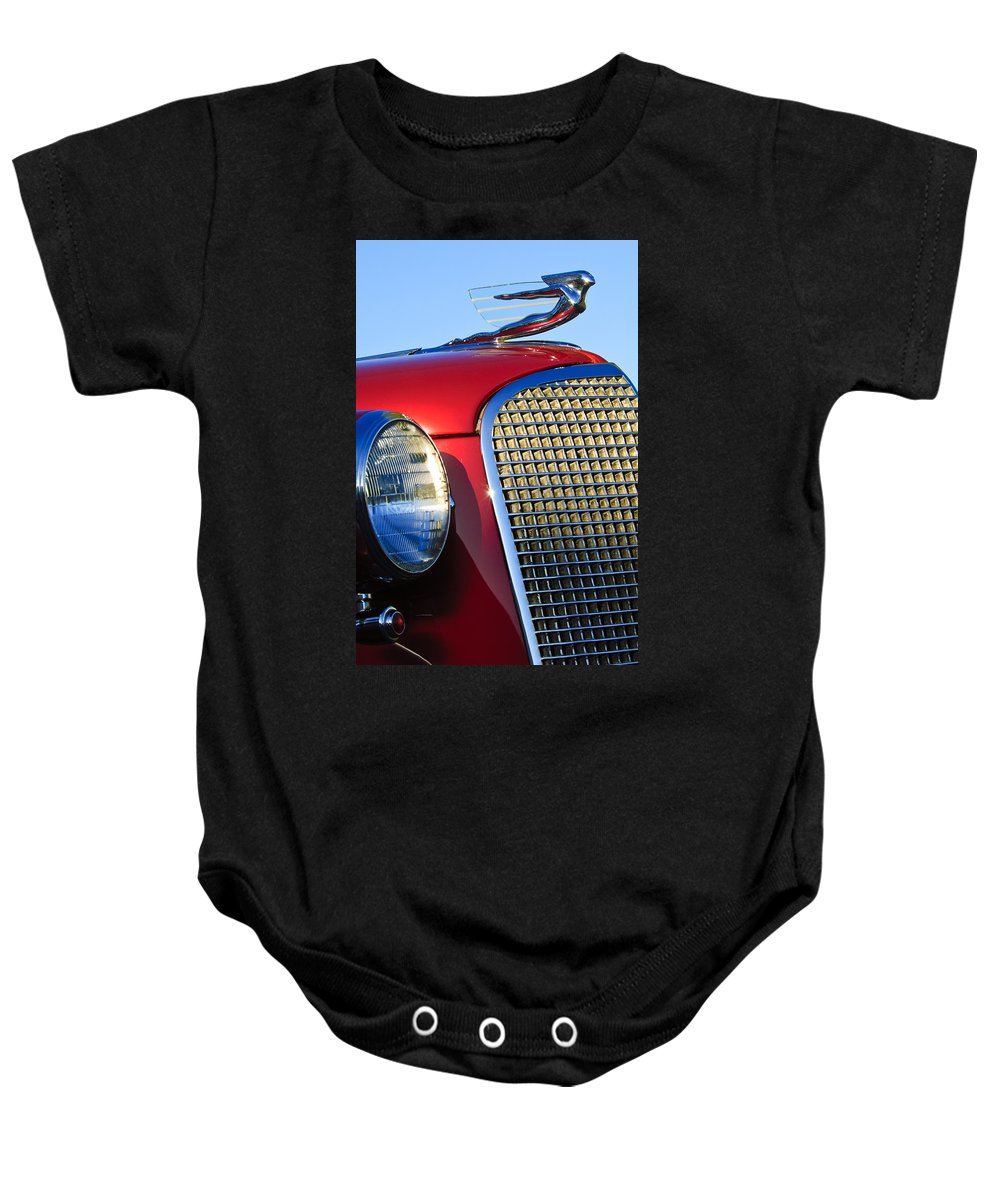 1937 Cadillac V8 Baby Onesie featuring the photograph 1937 Cadillac V8 Hood Ornament 2 by Jill Reger