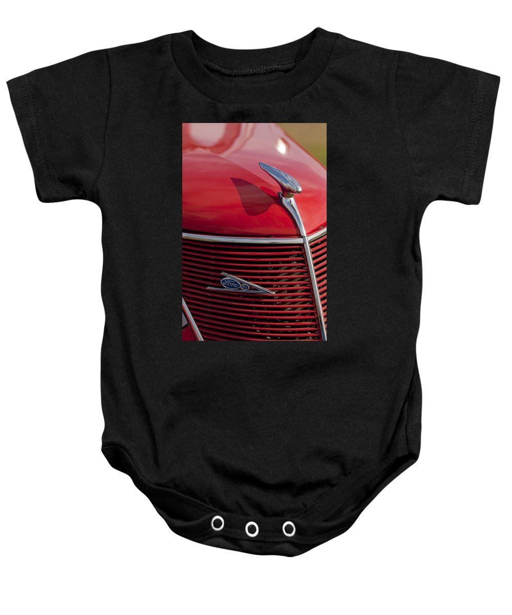 1937 Ford Baby Onesie featuring the photograph 1937 Ford Hood Ornament by Jill Reger