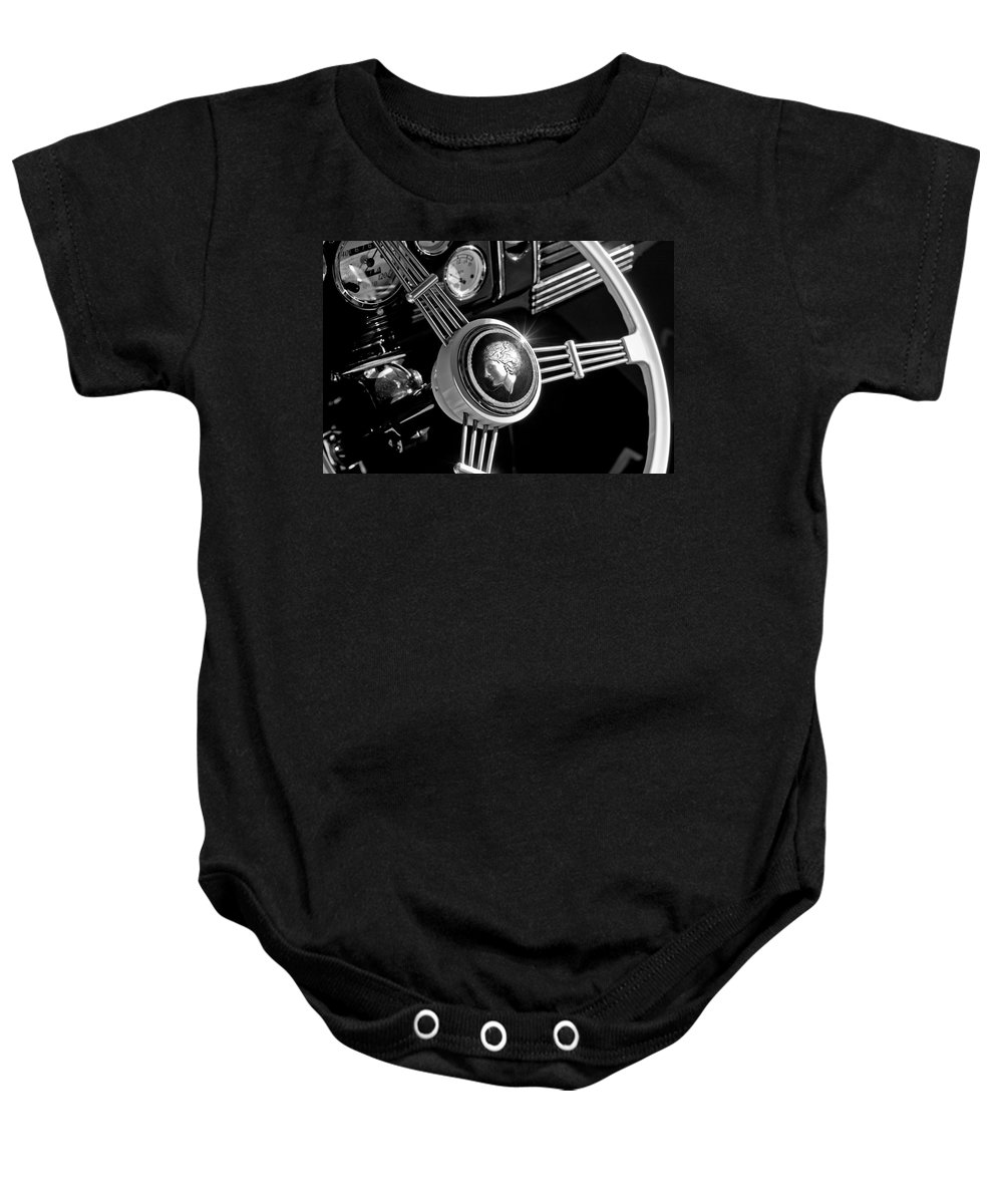 1939 Ford Standard Woody Baby Onesie featuring the photograph 1939 Ford Standard Woody Steering Wheel 2 by Jill Reger