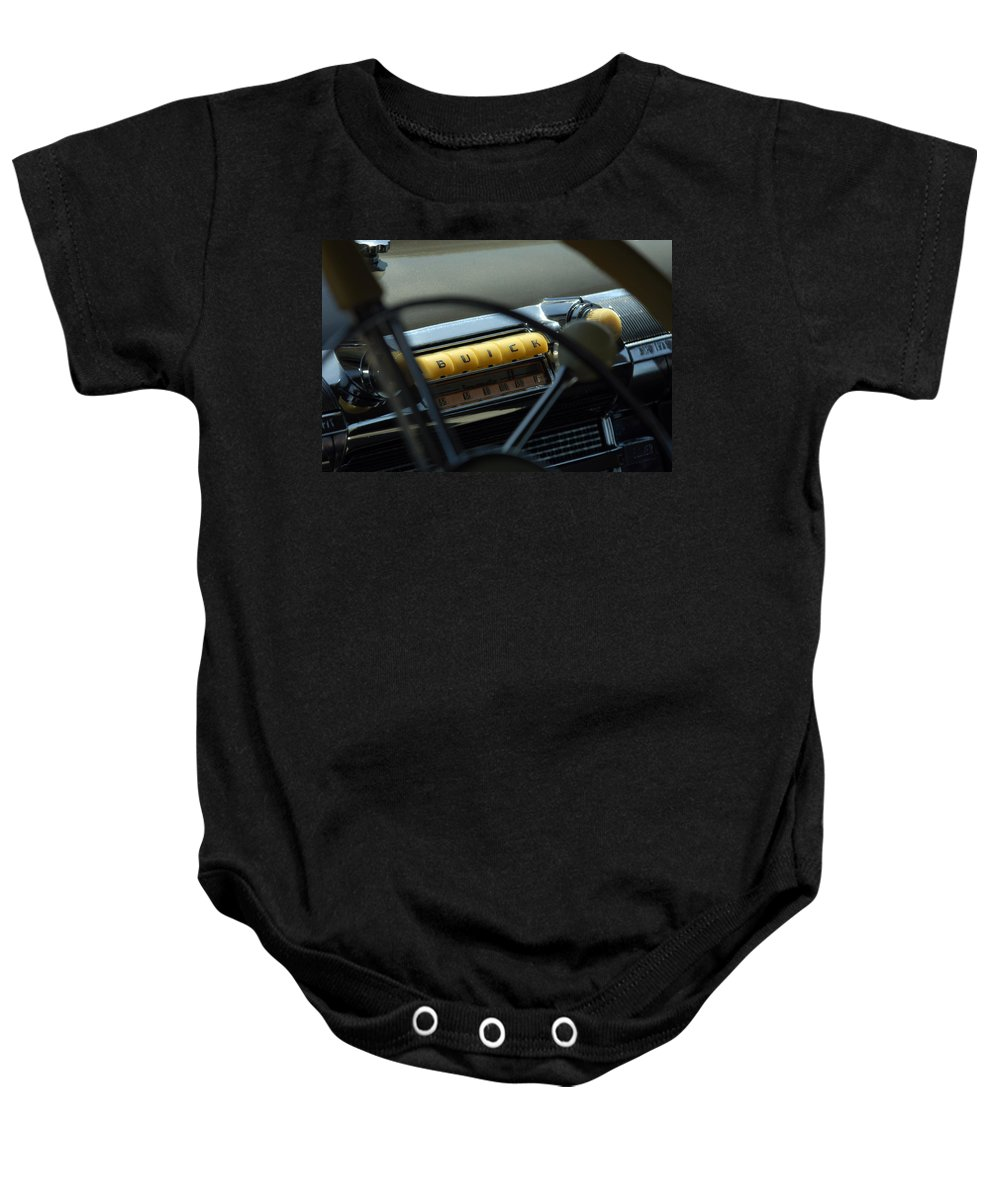 Car Baby Onesie featuring the photograph 1947 Buick Super Radio by Jill Reger