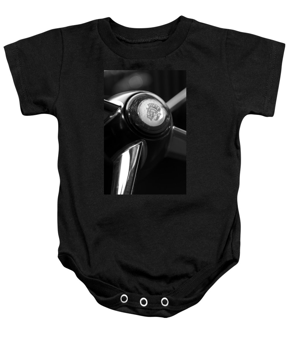 1947 Cadillac Baby Onesie featuring the photograph 1947 Cadillac Steering Wheel by Jill Reger