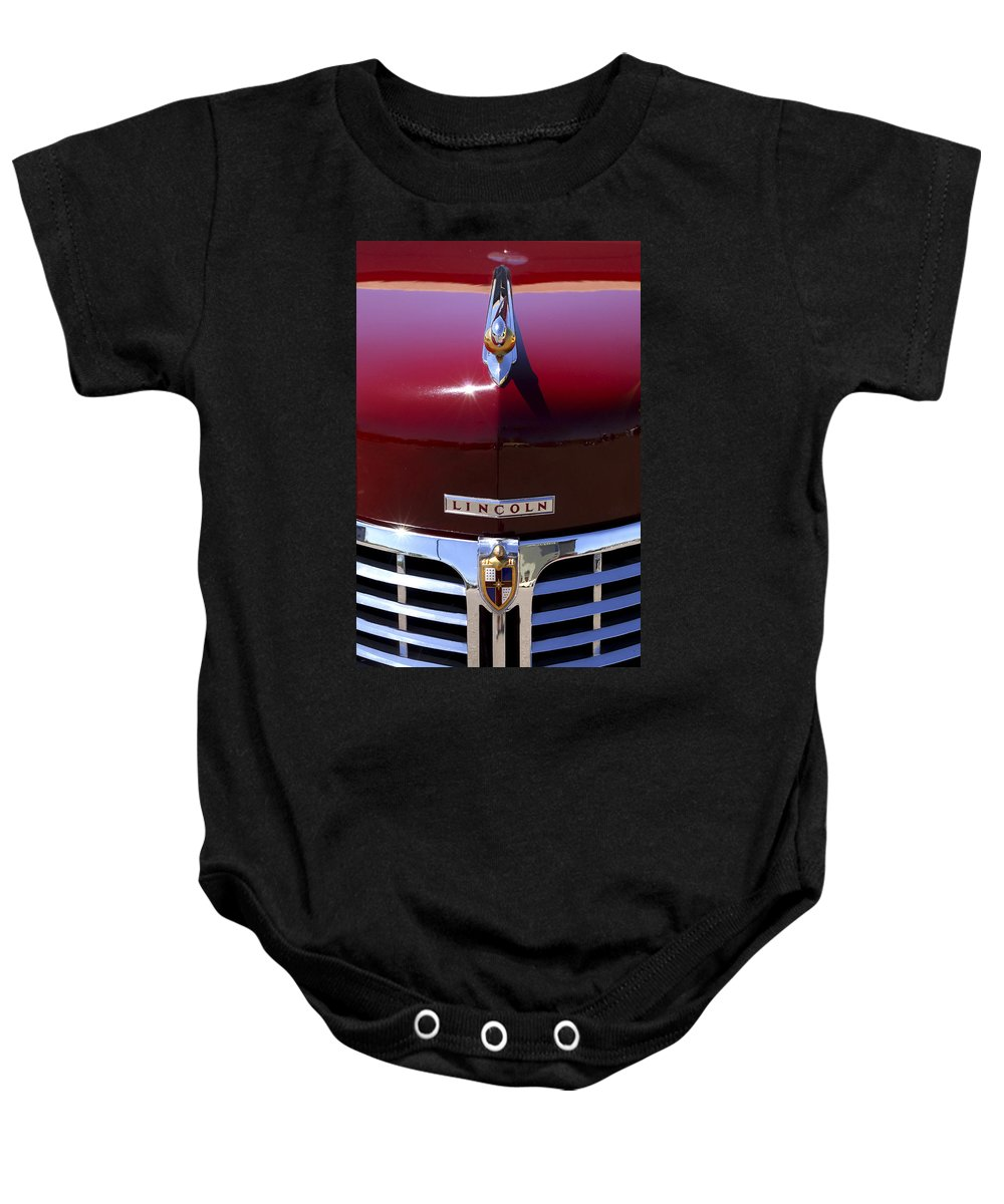 1948 Lincoln Continental Baby Onesie featuring the photograph 1948 Lincoln Continental Hood Ornament 3 by Jill Reger