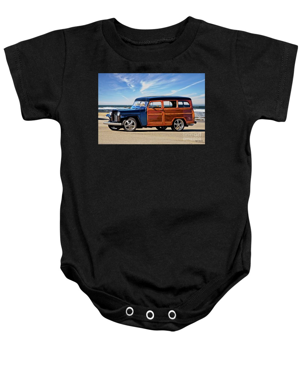 Automobile Baby Onesie featuring the photograph 1949 Willys Woody Wagon I by Dave Koontz