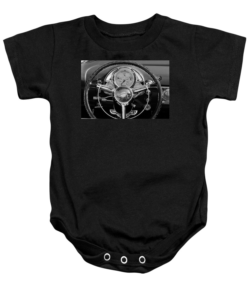 1950 Oldsmobile Rocket 88 Baby Onesie featuring the photograph 1950 Oldsmobile Rocket 88 Steering Wheel 4 by Jill Reger