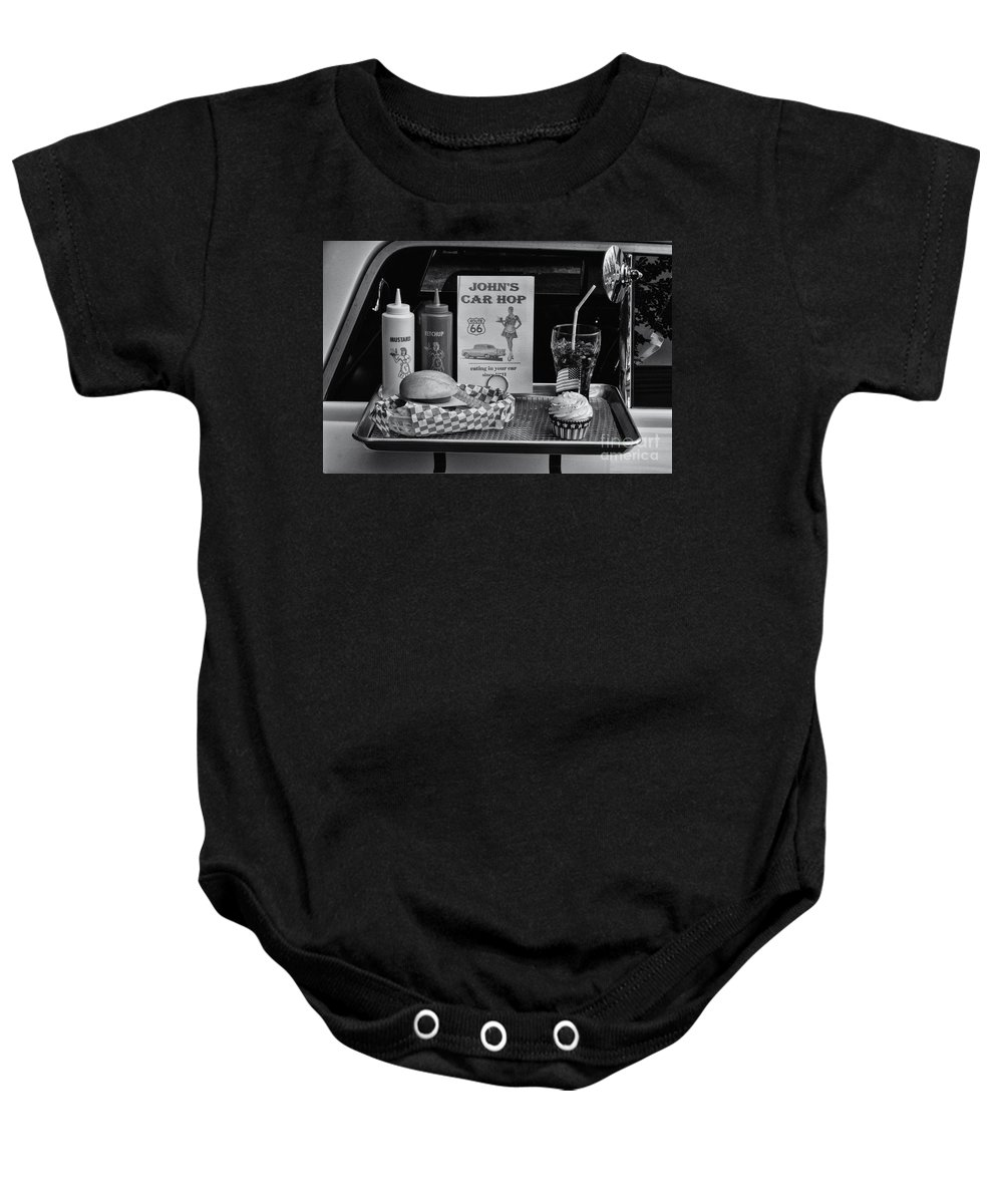 Car Baby Onesie featuring the photograph 1950's Drive-in by Doc Braham