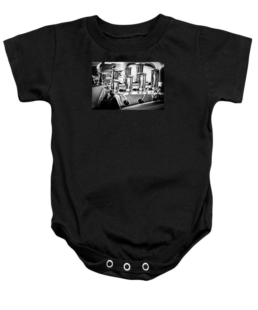1956 Chrysler Engine Baby Onesie featuring the photograph 1956 Chrysler Hot Rod Engine by Jill Reger
