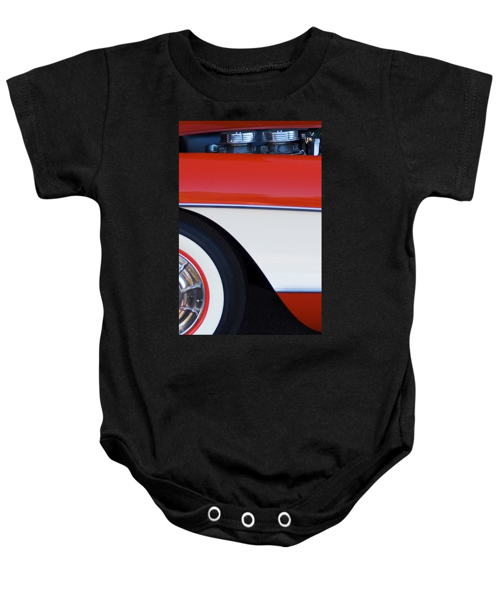 Car Baby Onesie featuring the photograph 1957 Chevrolet Corvette Convertible Front End by Jill Reger