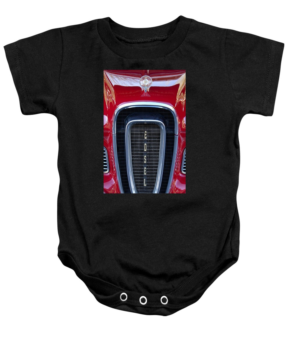 1958 Edsel Baby Onesie featuring the photograph 1958 Edsel Hood Ornament by Jill Reger