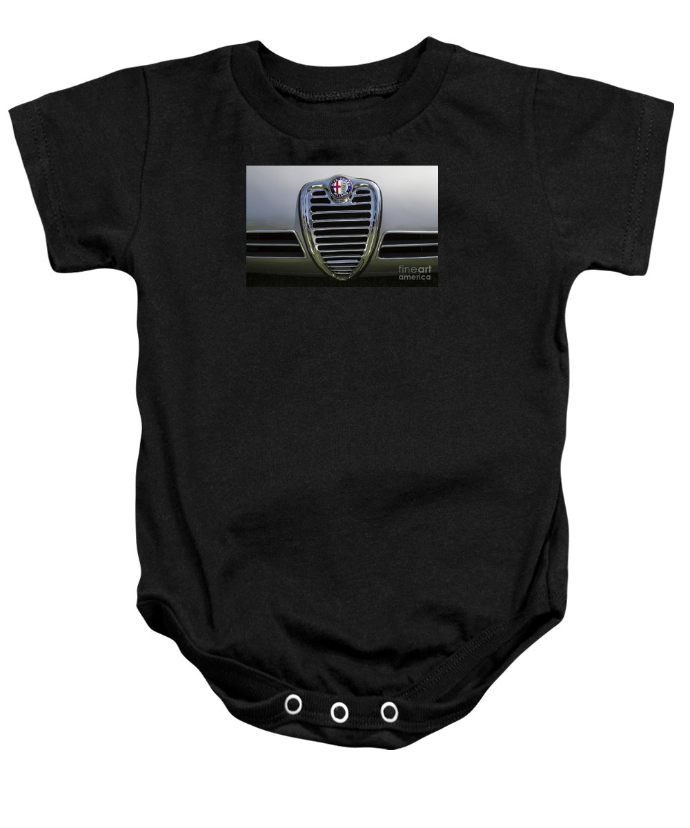 1962 Alfa Romeo Baby Onesie featuring the photograph 1962 Alfa Romeo Grille by Dennis Hedberg