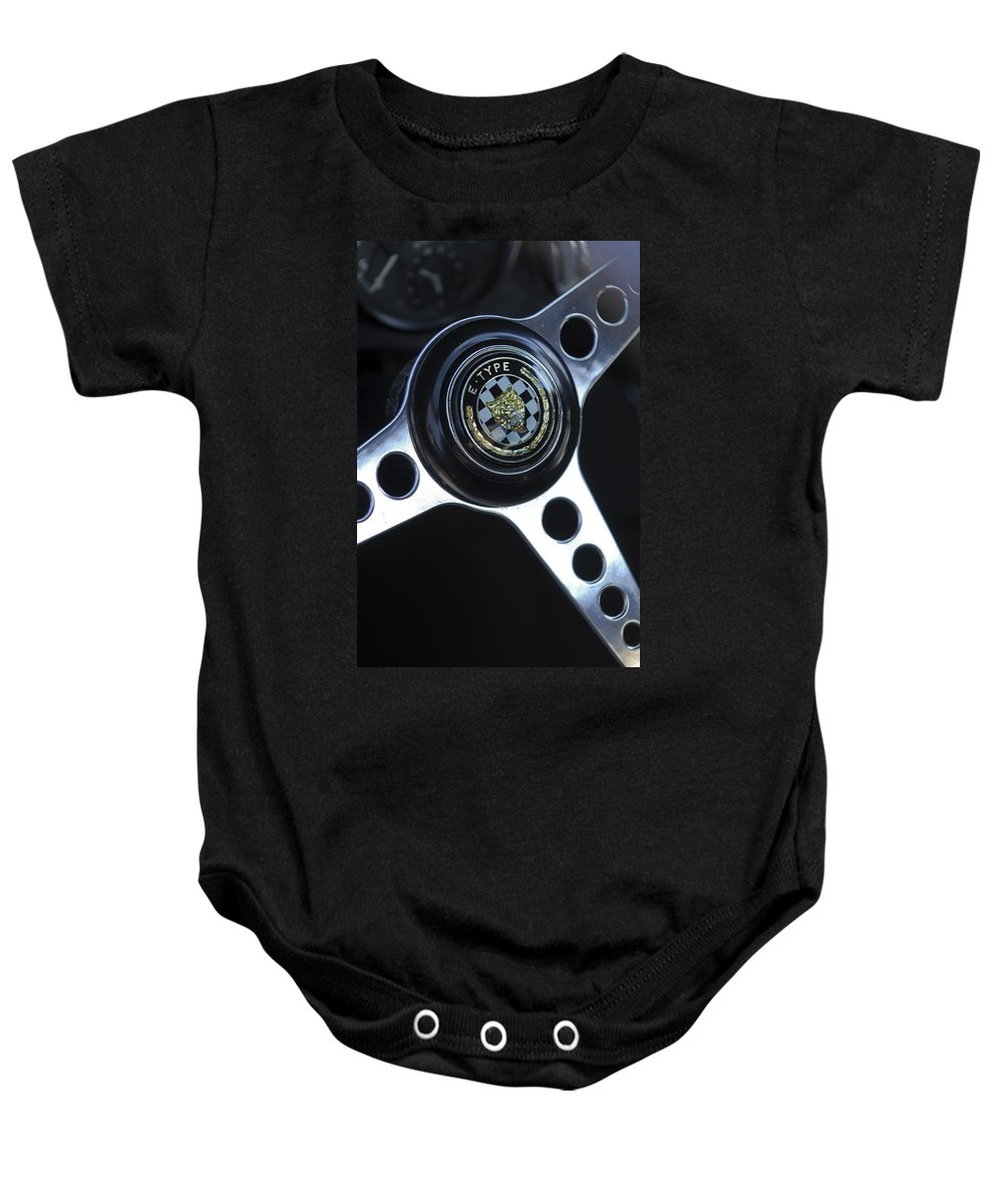 1963 Jaguar Xke Roadster Baby Onesie featuring the photograph 1963 Jaguar Xke Roadster Steering Wheel by Jill Reger