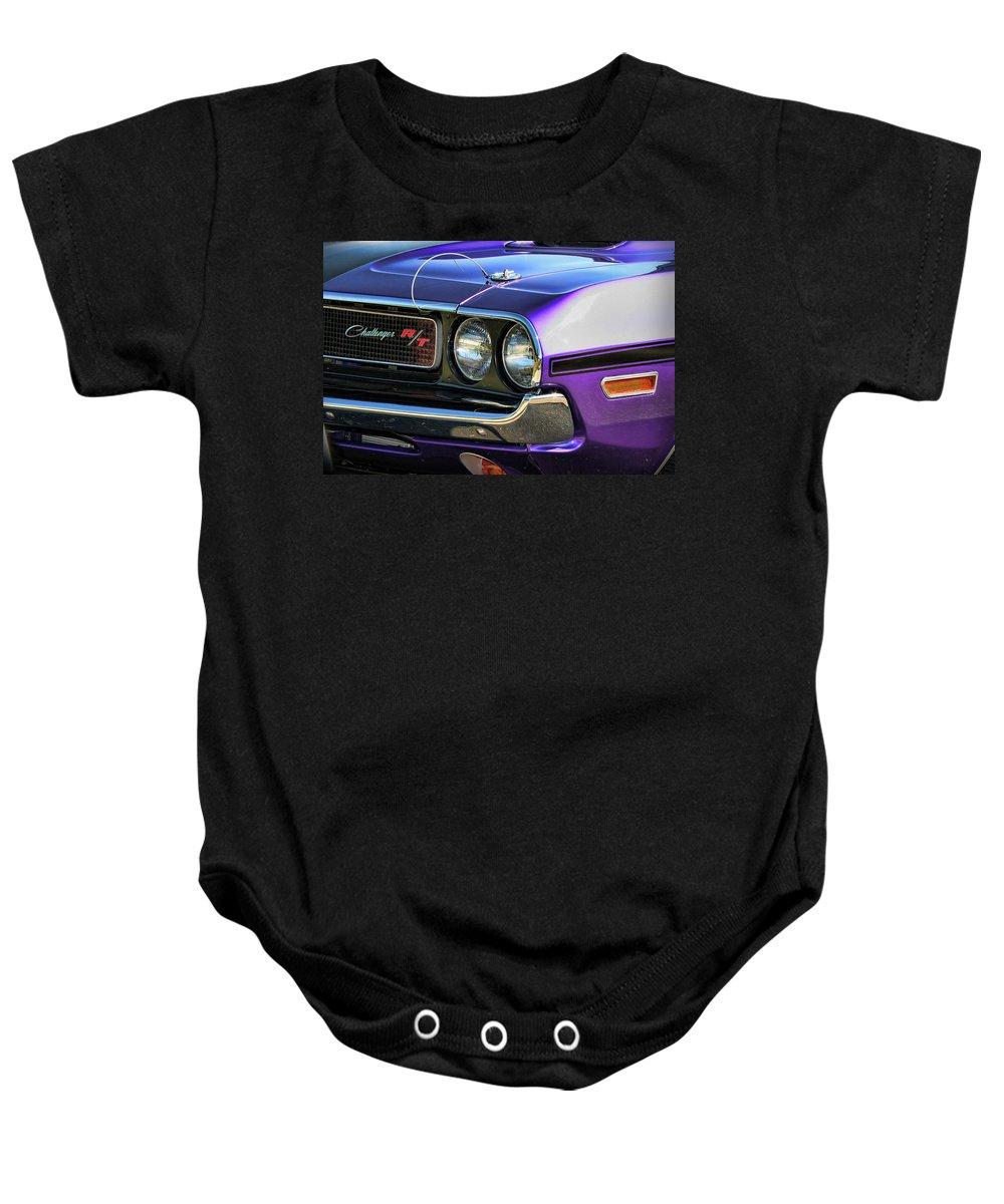 1970 Baby Onesie featuring the photograph 1970 Dodge Challenger Rt 440 Magnum by Gordon Dean II