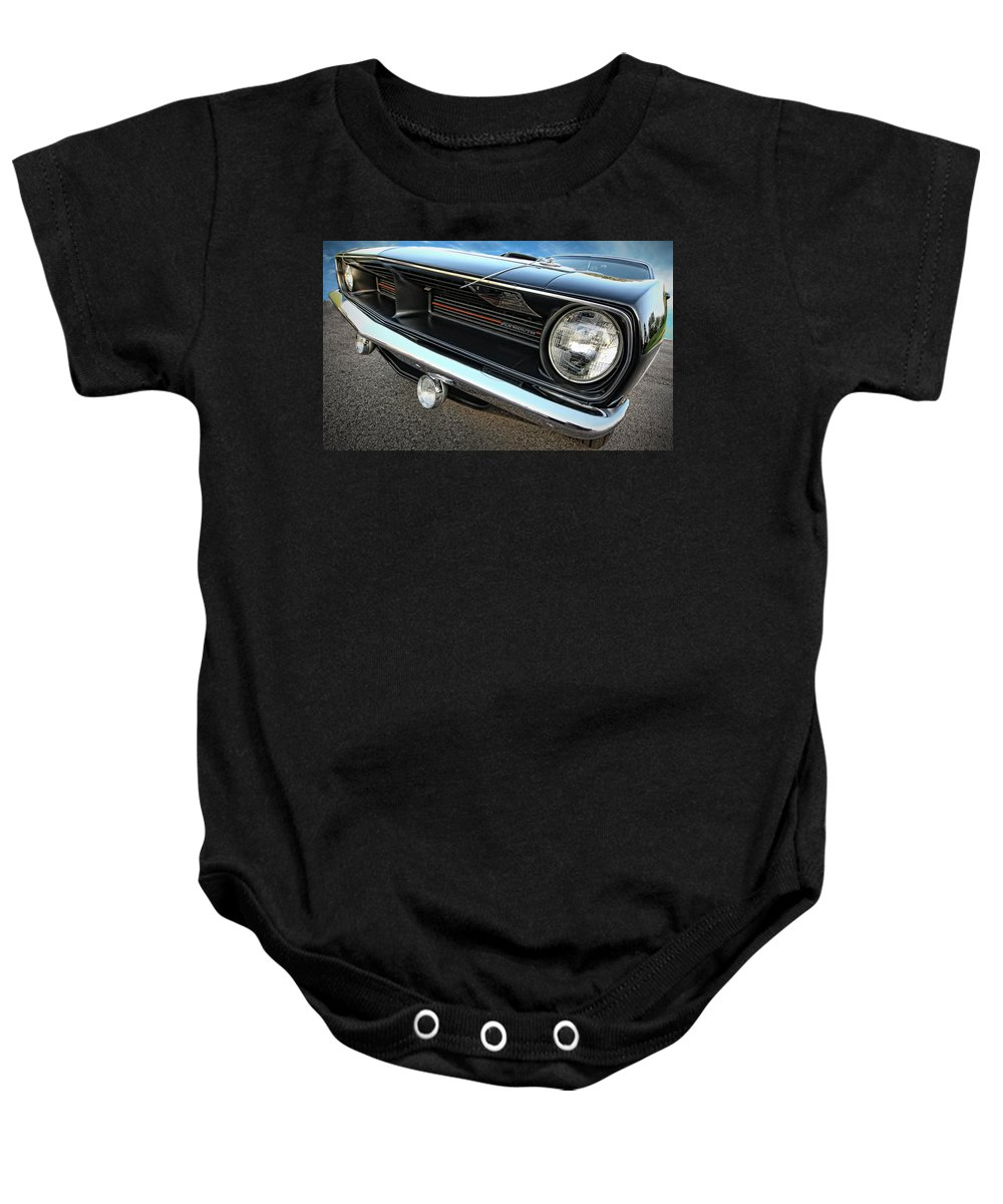 Black Baby Onesie featuring the photograph 1970 Plymouth Barracuda 'cuda 440 by Gordon Dean II