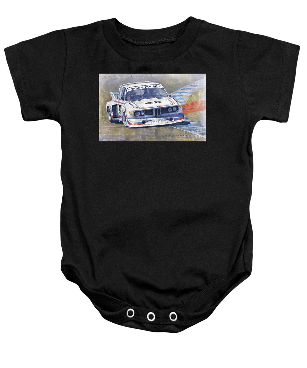 Shevchukart Baby Onesie featuring the painting 1974 Bmw 3.5 Csl by Yuriy Shevchuk