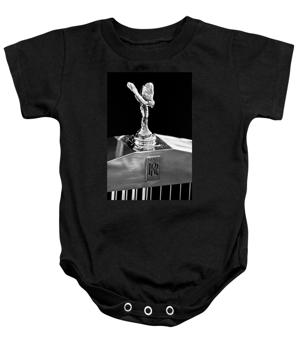 1986 Rolls-royce Baby Onesie featuring the photograph 1986 Rolls-royce Hood Ornament 2 by Jill Reger