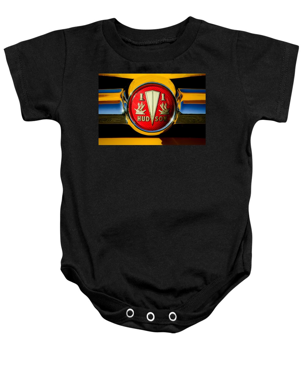 1954 Hudson Baby Onesie featuring the photograph 1954 Hudson Grille Emblem by Jill Reger