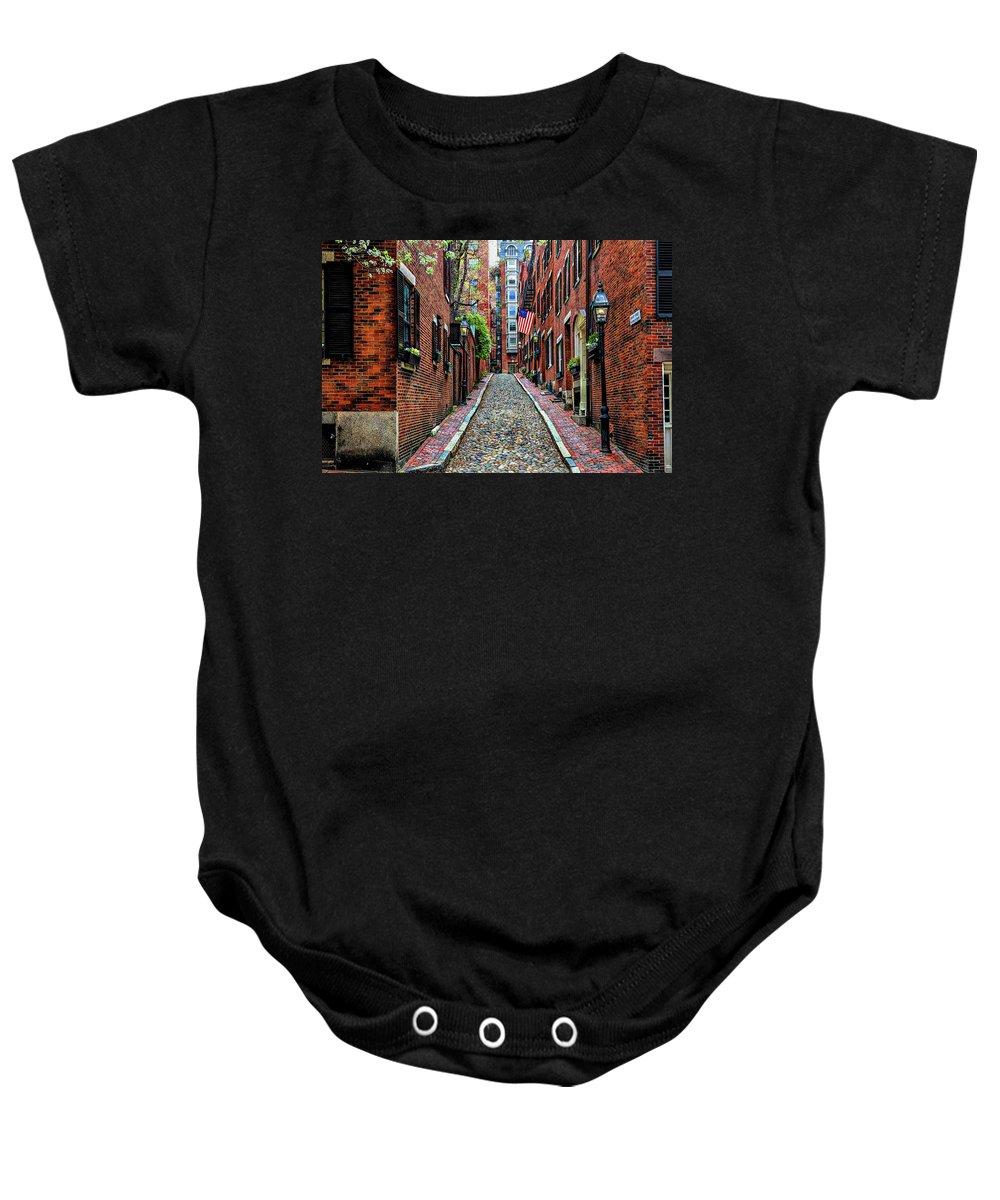 Boston Ma Baby Onesie featuring the photograph Acorn Street Boston by Larry Richardson