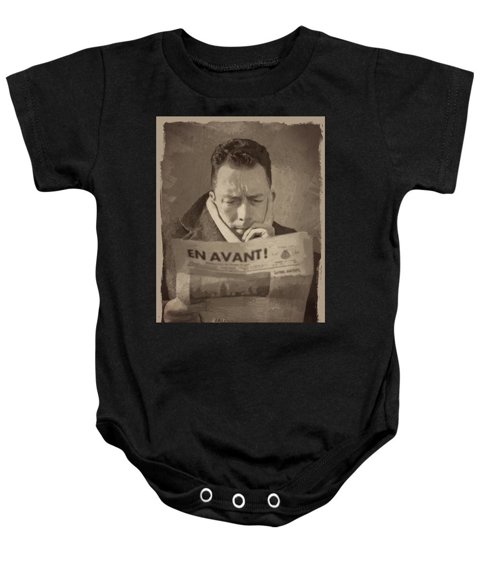 Albert Camus Baby Onesie featuring the digital art Albert Camus 1 by Afterdarkness
