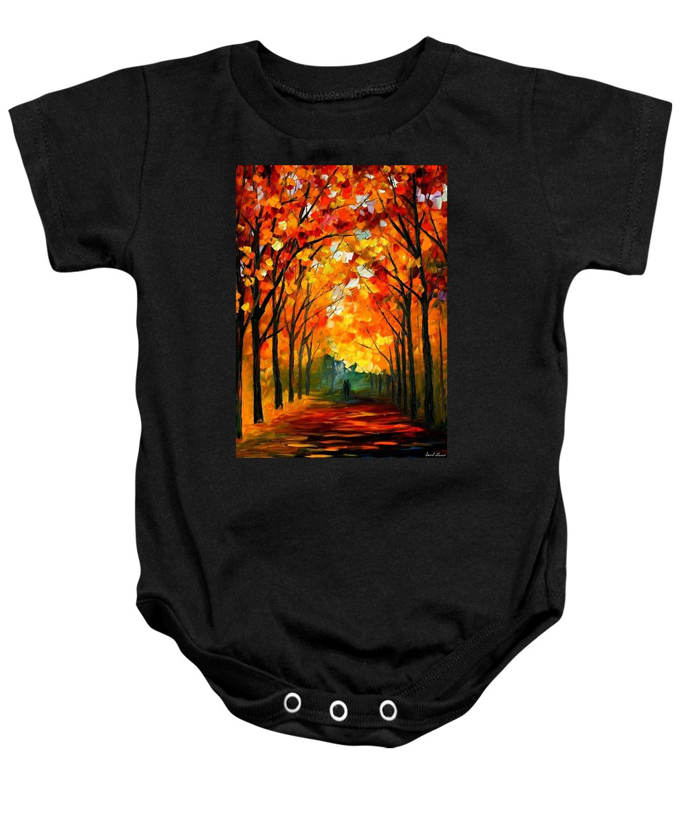 Landscape Baby Onesie featuring the painting Autumn by Leonid Afremov