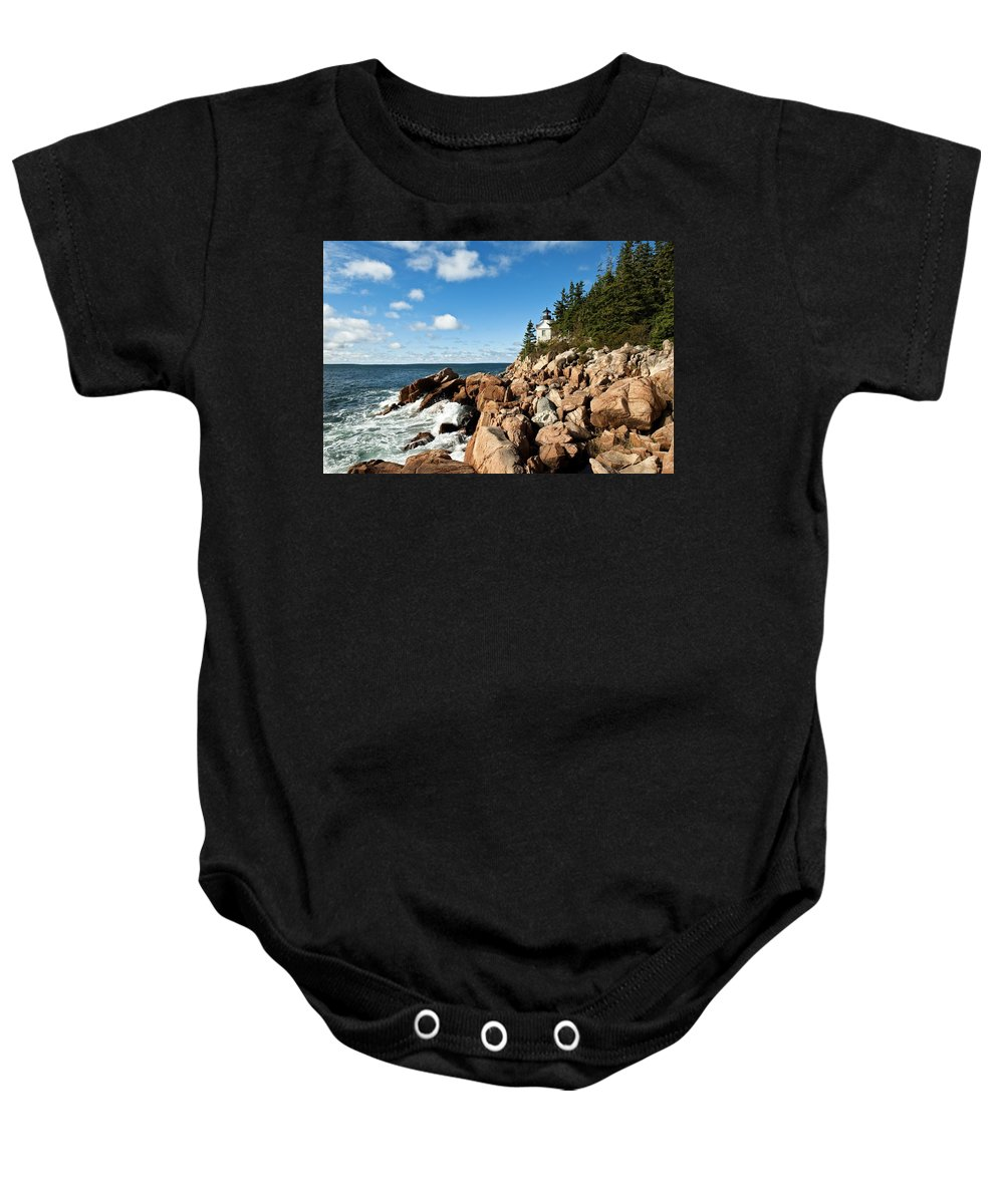 New England Baby Onesie featuring the photograph Bass Harbor Light by John Greim