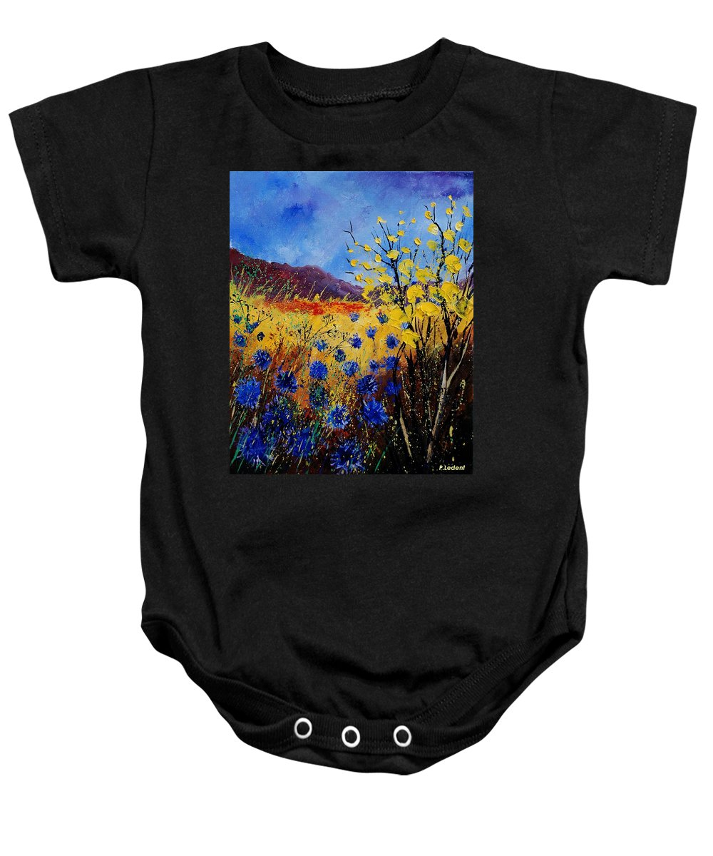 Poppies Flowers Floral Baby Onesie featuring the painting Blue Cornflowers by Pol Ledent