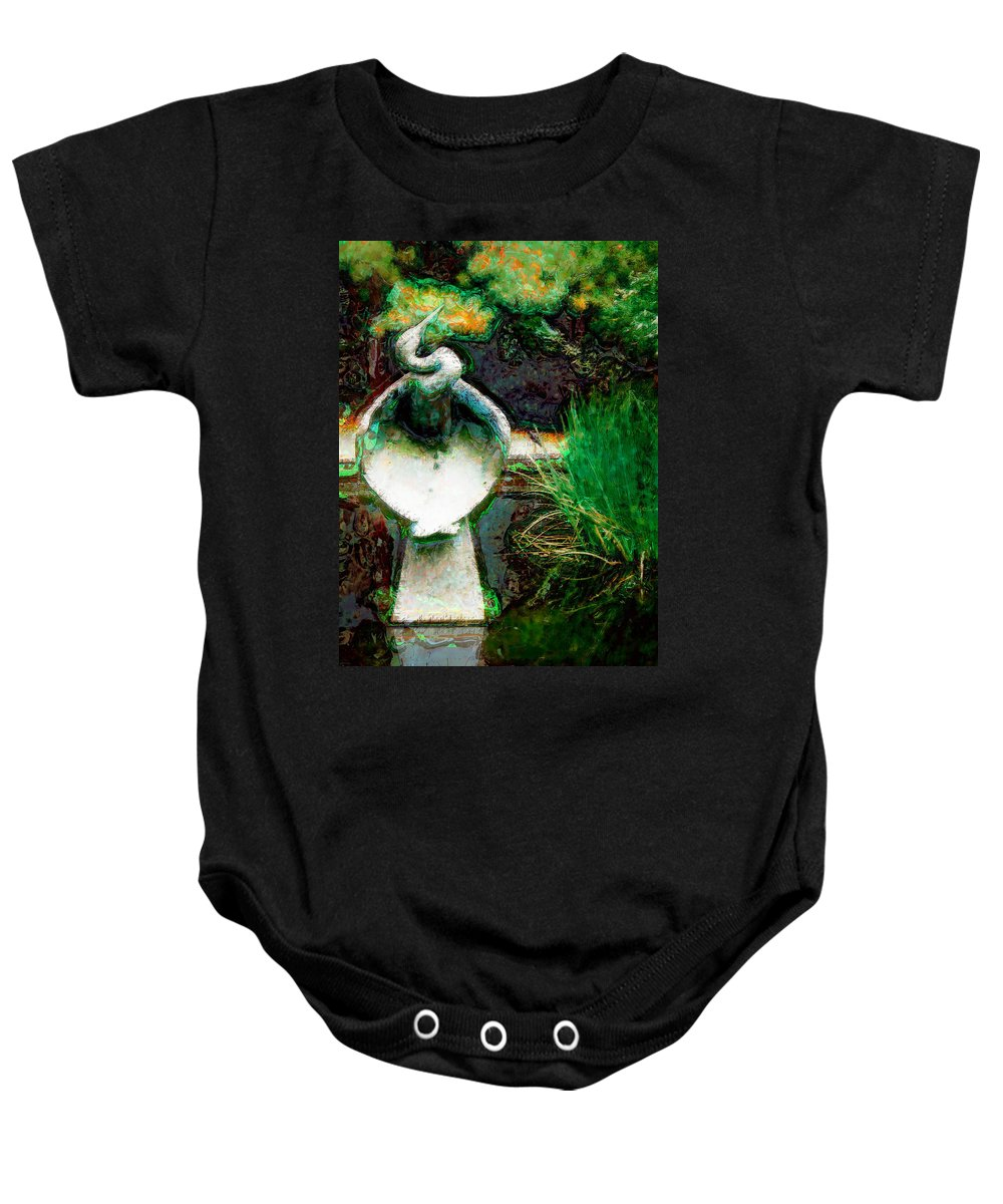 Blue Heron Baby Onesie featuring the photograph Blue Heron by Donna Bentley