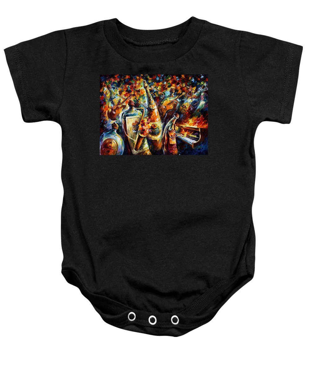 Afremov Baby Onesie featuring the painting Bottle Jazz by Leonid Afremov