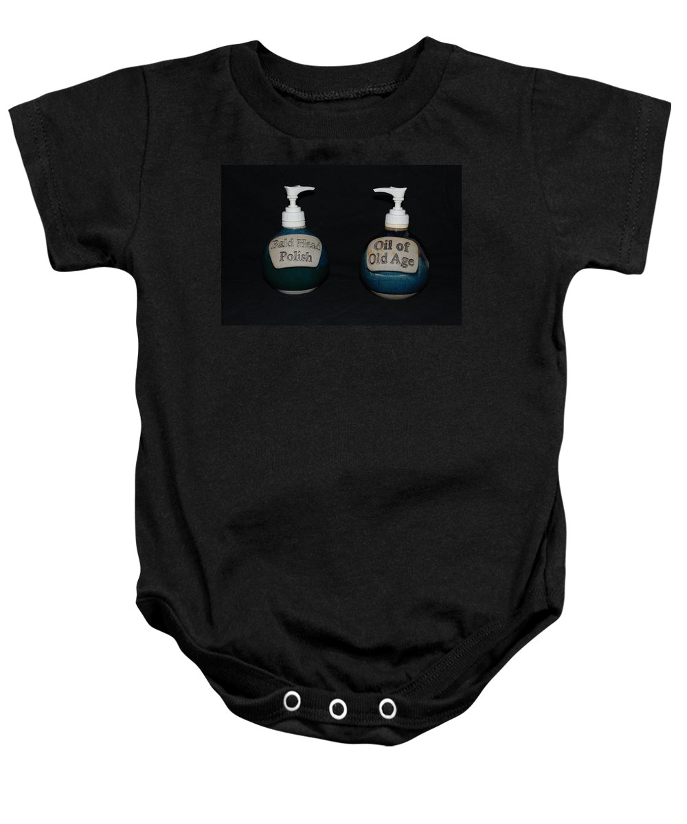 Bathroom Baby Onesie featuring the photograph 2 Bottles by Rob Hans
