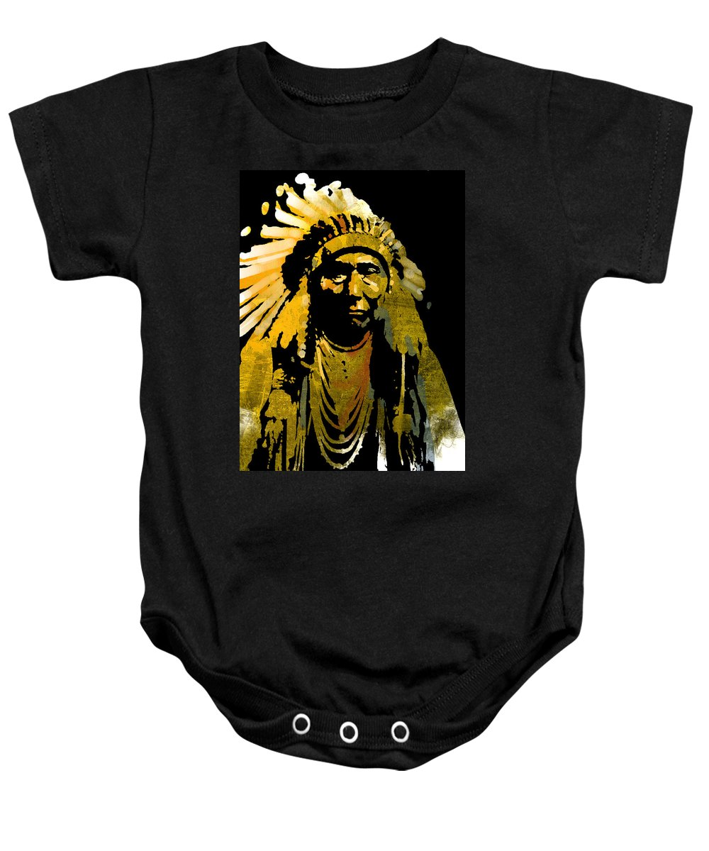 Native American Baby Onesie featuring the painting Chief Joseph by Paul Sachtleben