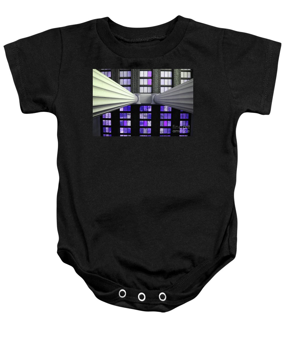 Lincoln Baby Onesie featuring the photograph 2 Column Stain Purple by Jost Houk