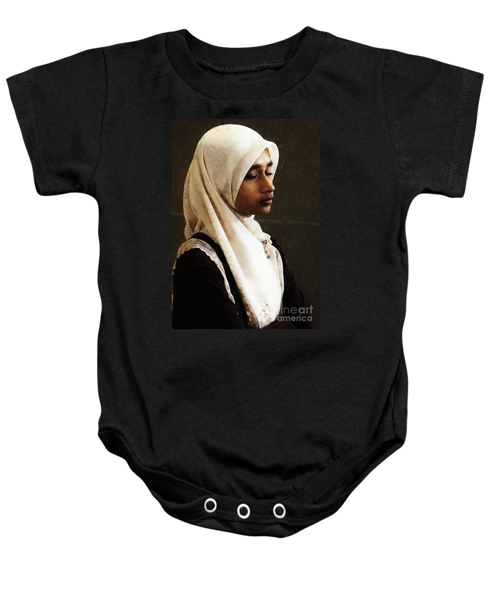 Hijab Baby Onesie featuring the photograph Deep In Thought by Sheila Smart Fine Art Photography