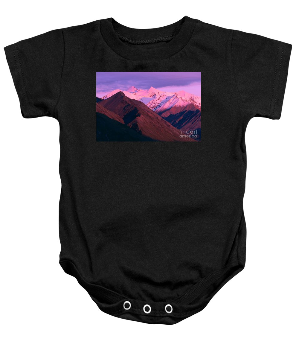 Aerial Baby Onesie featuring the photograph Denali National Park by John Hyde - Printscapes