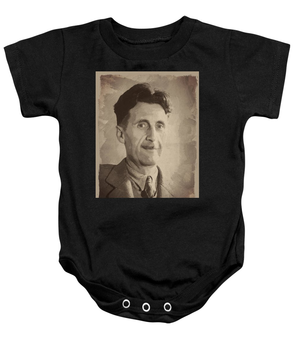 George Orwell Baby Onesie featuring the digital art George Orwell 2 by Afterdarkness
