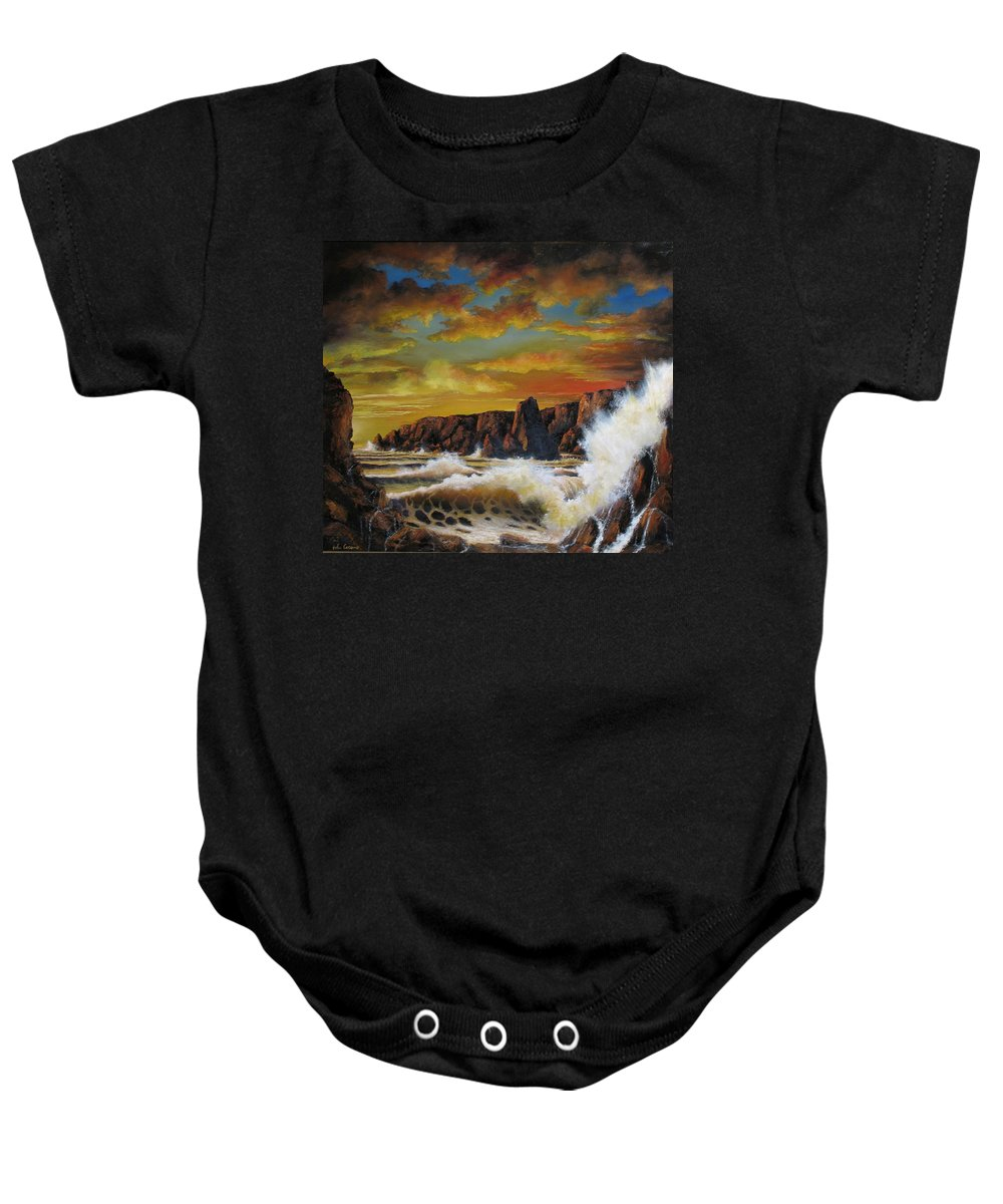 Seascape Sunset Baby Onesie featuring the painting Golden Yellow Sunset by John Cocoris