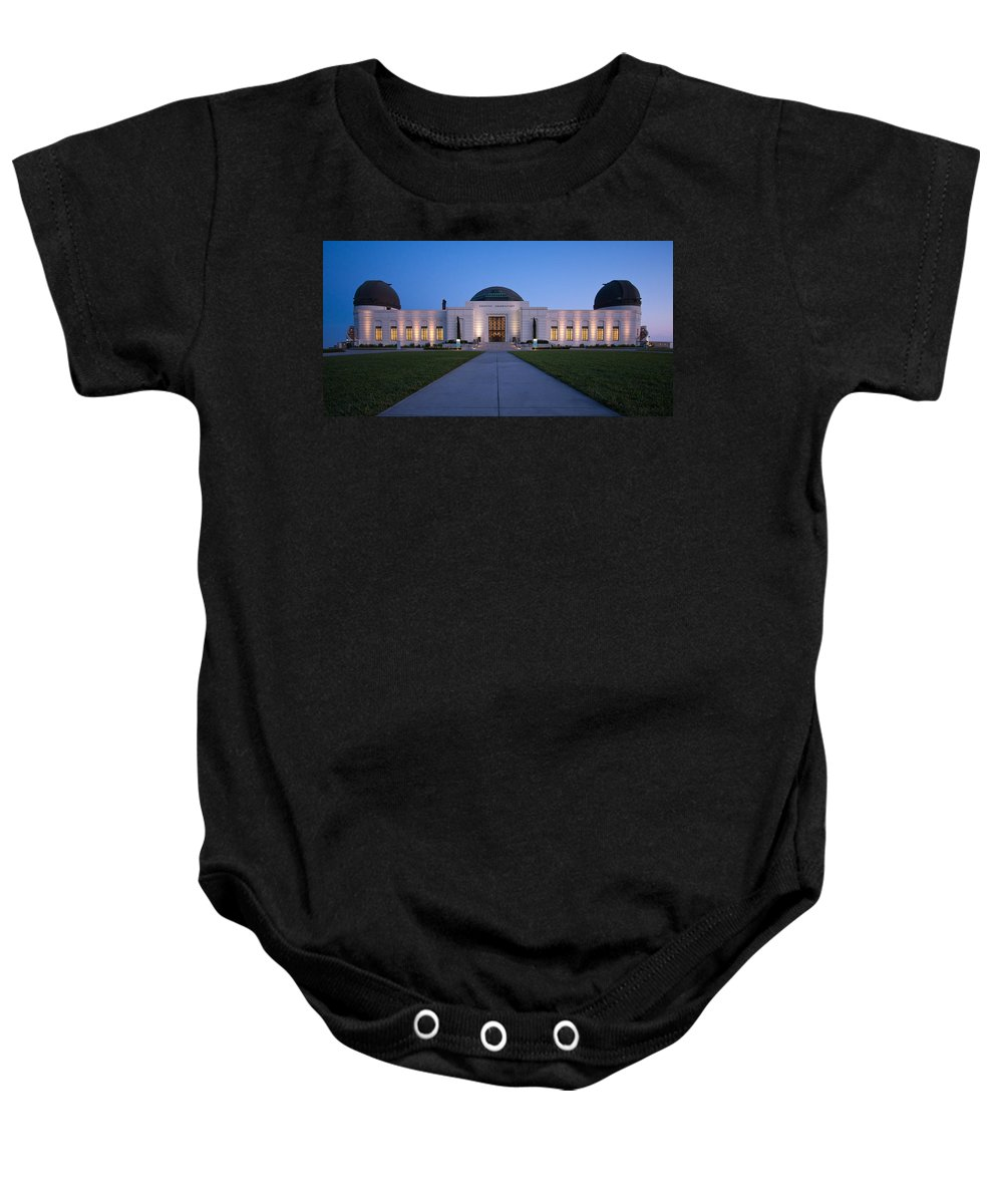 3scape Baby Onesie featuring the photograph Griffith Observatory by Adam Romanowicz